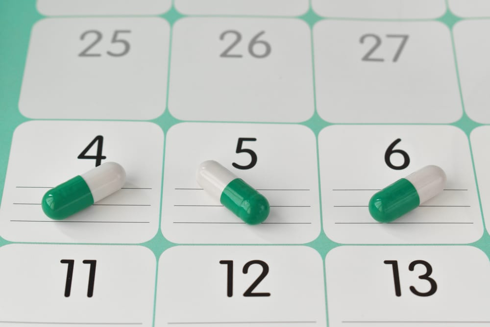 capsules on medication plan schedule list or calendar